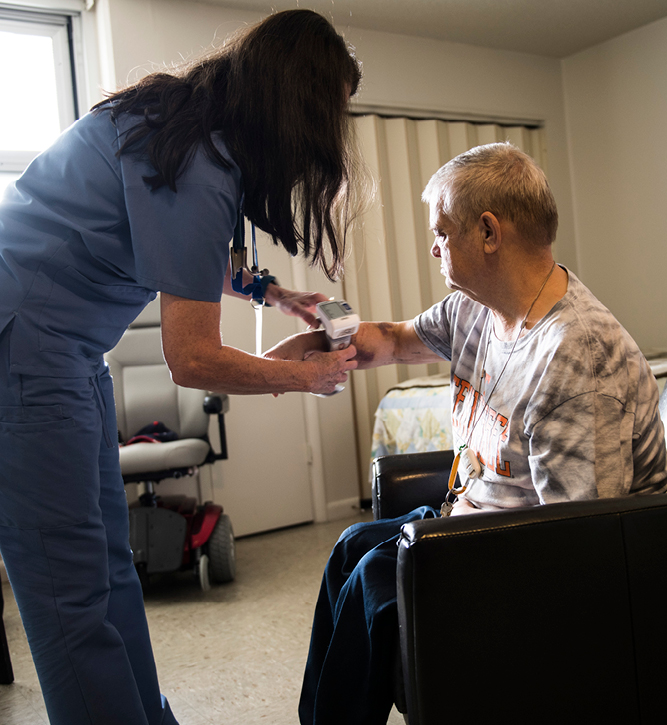 Patient receiving care